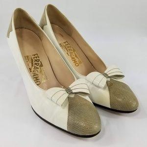 Salvatore Ferragamo Heel White Snakeskin Size 7.5B